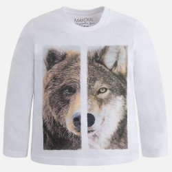 Блуза с принт мечка и вълк