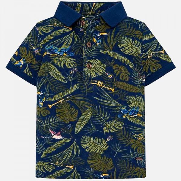 Поло тениска с тропически принт