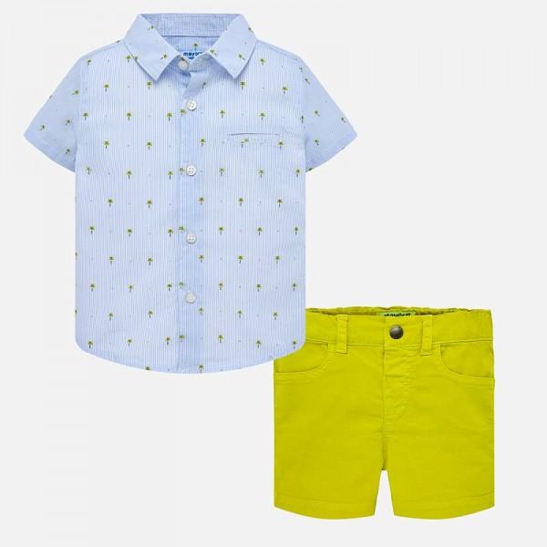 Комплект риза с палми и къси панталонки