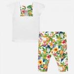 Комплект тениска и клин с флорална щампа