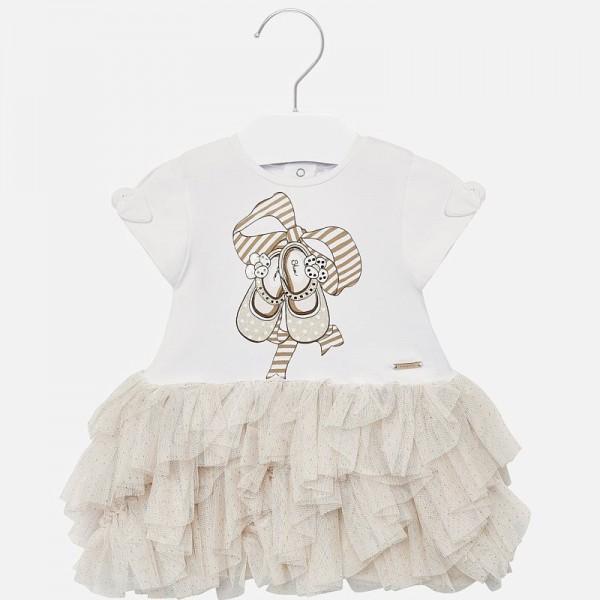 Комбинирана рокля тюл и принт обувки