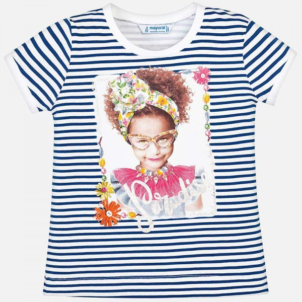 Тениска райе с принт