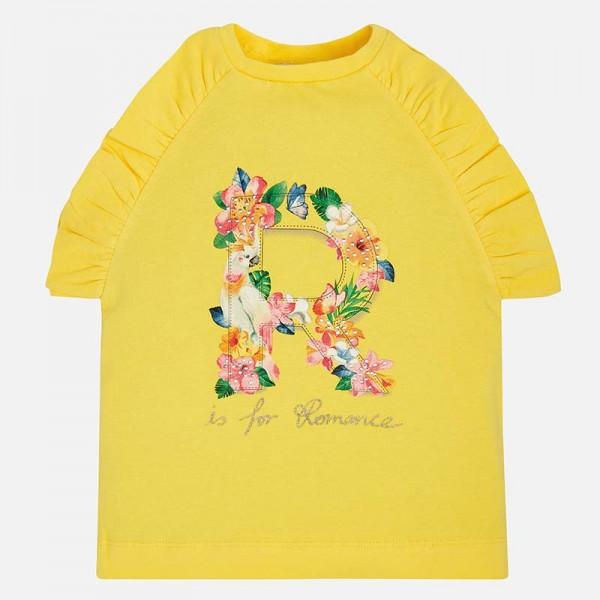 Тениска с къдрички и флорален мотив