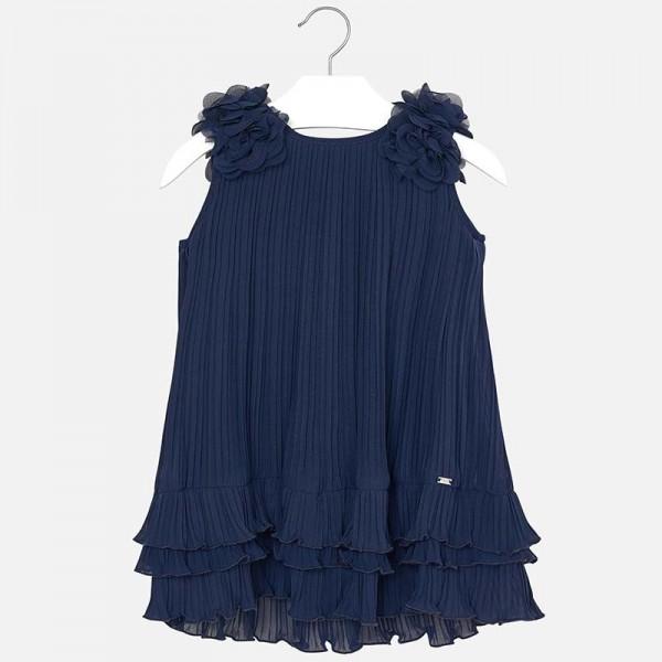 Плисирана рокля с къдрички