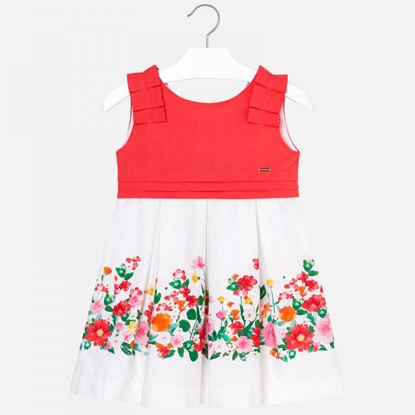 Цветна рокля с V-образен гръб