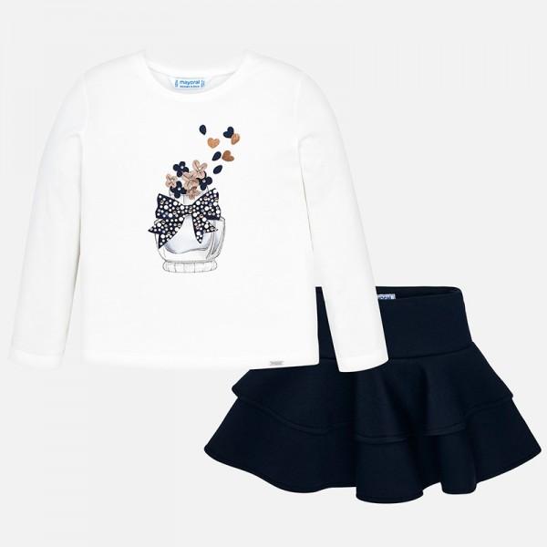 Комплект блуза с парфюм и пола с къдрички