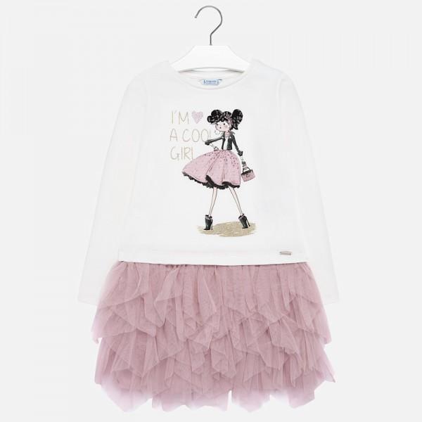 Комбинирана рокля с тюл и принт за момиче