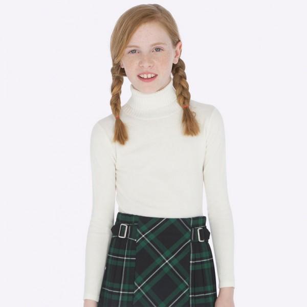 Едноцветна блуза с висока яка