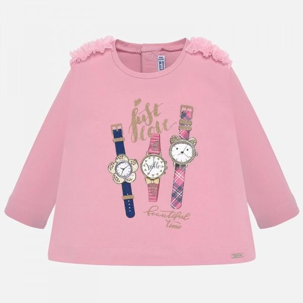 Блуза с часовници и къдрички