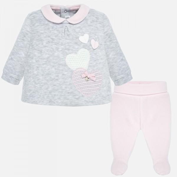 Комплект блуза с ритънки и апликация за момиче Newborn серия