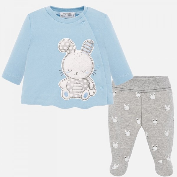Комплект ритънки и блузка със зайче