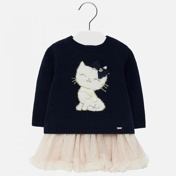 Комплект рокля с пуловер с коте