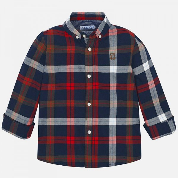 Риза каре с дълъг ръкав /слим фит/