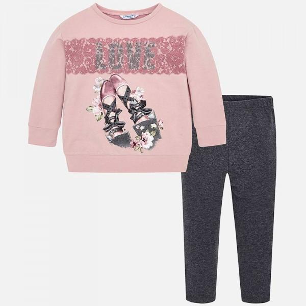 Комплект клин и блуза с принт пантофки
