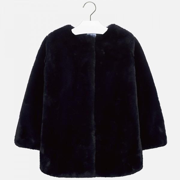 Палто от косъм с кръгла яка за момиче