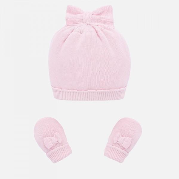 Комплект шапка и ръкавички с панделка за новородено бебе момиче