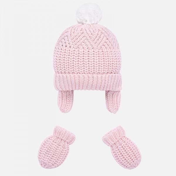 Комплект ръкавички и шапка с помпон за новородено бебе
