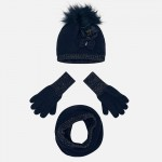 Комплект шал тип яка ръкавици и шапка с помпон за момиче