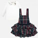 Комплект блуза и сукман с къдрички за бебе момиче
