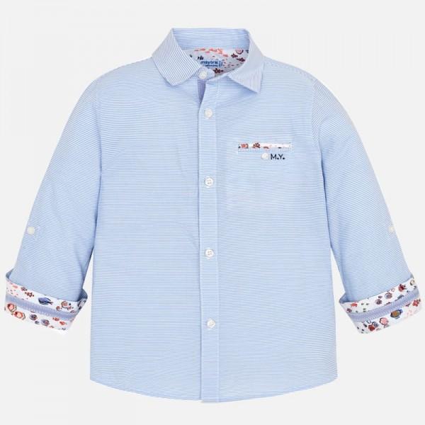 Риза с дълъг ръкав и контрастни детайли за момче