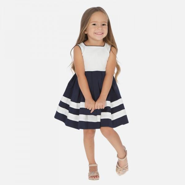 Двуцветна рокля с панделка на гърба