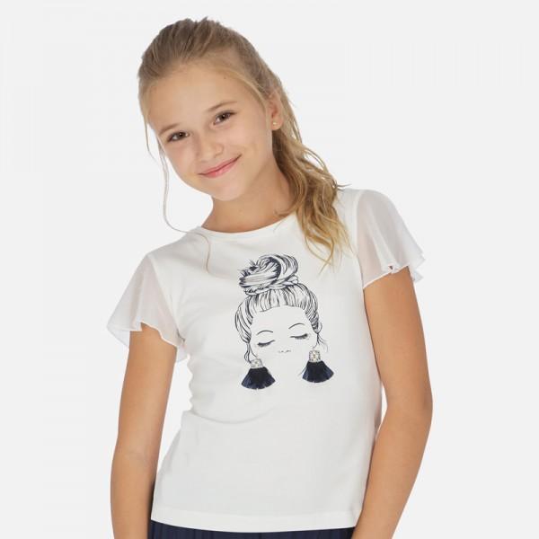 Тениска с момиче и шифон ръкави