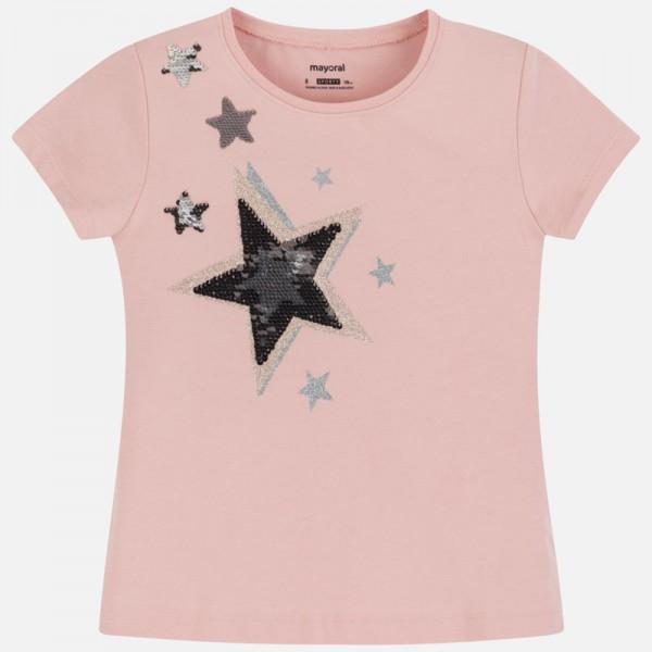 Тениска с обръщащи пайети звезда