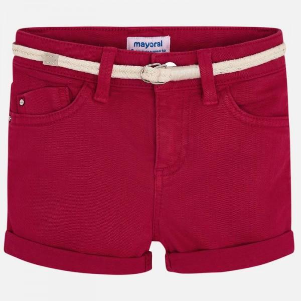 Едноцветни къси панталони с колан за момиче