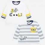 Комплект трицветни тениски с дълъг ръкав за новородено бебе момче