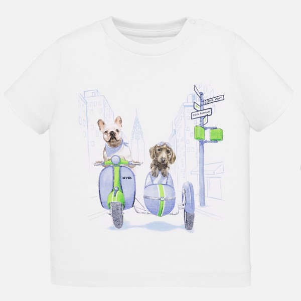 Тениска с принт кучета на мотор