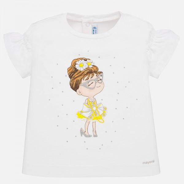 Тениска с момиченце и набрани ръкави