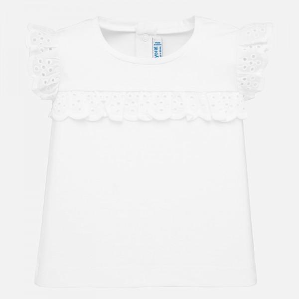 Едноцветна тениска с къдрички