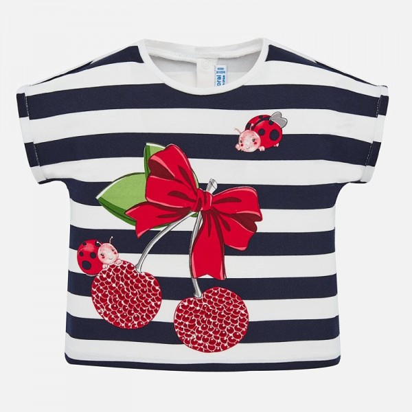 Тениска райе с черешки и калинки