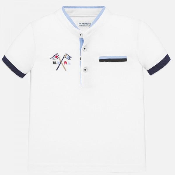 Поло тениска с контрастни детайли и яка тип мандарин за  момче