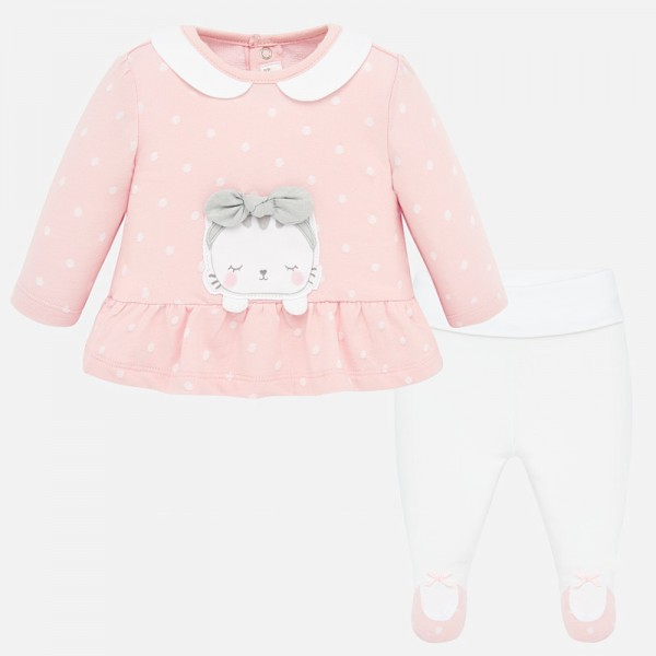 Комплект ританки и блуза на точки за новородено бебе момиче