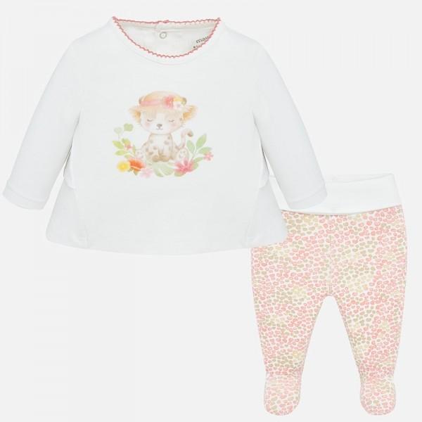 Комплект блуза и ританки с щампи за новородено бебе момиче