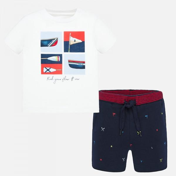 Комплект тениска и къси панталони с щампи за  момче