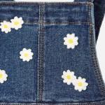 Комбиниран дънков сукман с апликирани цветя