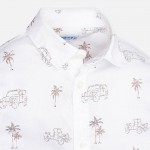 Риза с дълъг ръкав и тропически щампи за момче