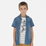 Риза с къс ръкав деним за момче