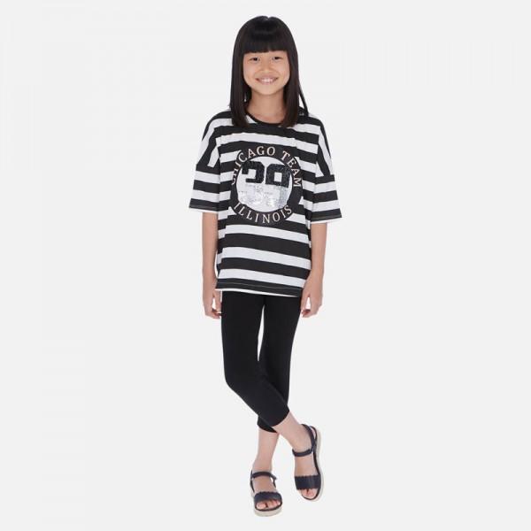 Комплект тениска на райета и клин за момиче