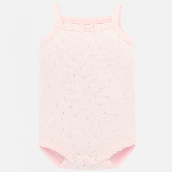 Едноцветно  боди с презрамки за новородено бебе момиче
