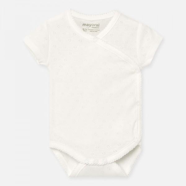 Едноцветно боди с къс ръкав за новородено бебе момиче