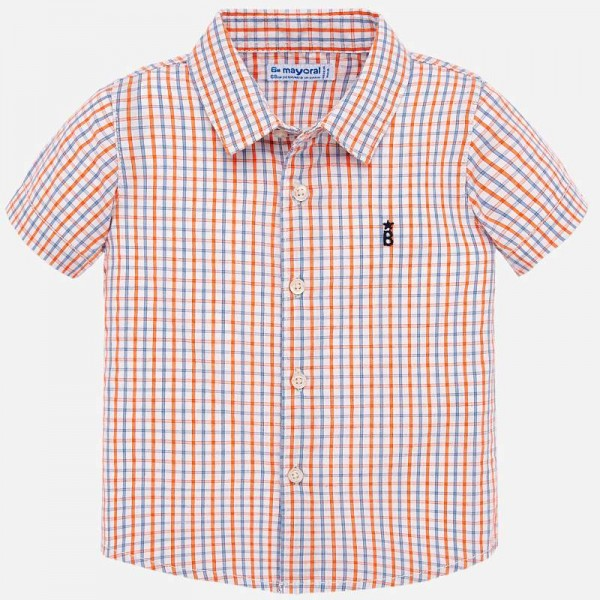 Карирана риза с къс ръкав за бебе момче