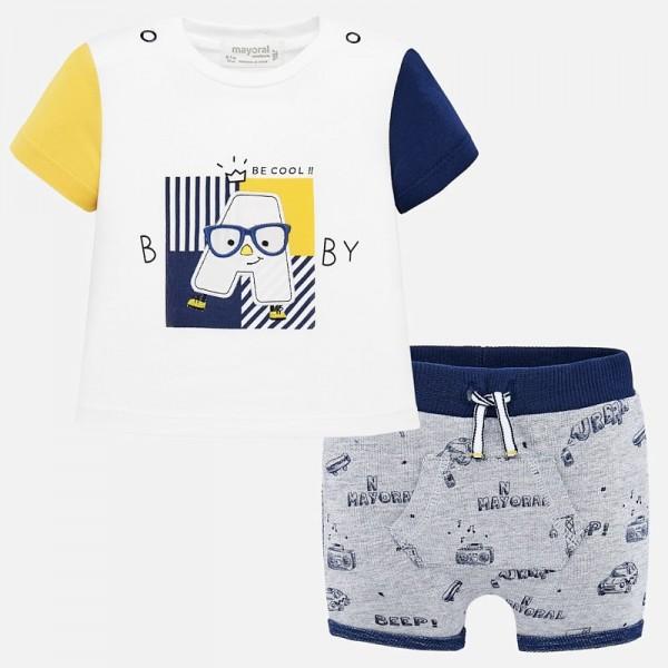 Комплект тениска и къс панталон с принт за новородено момче