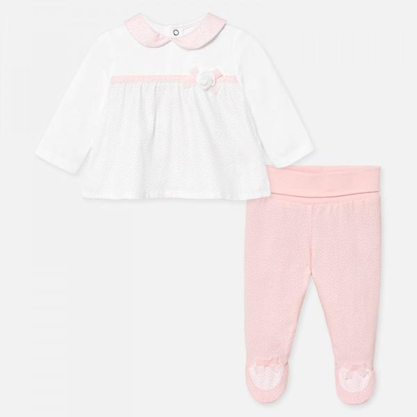 Комплект блуза с панделка и ритънки за новородено бебе момиче