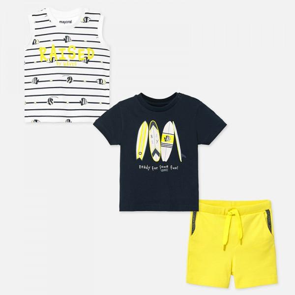 Комплект тениски и къси панталони за бебе момче