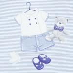 Комплект къси гащеризони с принт за новородено бебе момче