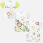 Комплект къси гащеризони с животни за новородено бебе момче