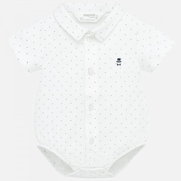 Боди с къс ръкав тип риза за новородено бебе момче